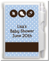 Modern Baby Boy Blue Polka Dots - Baby Shower Personalized Notebook Favor