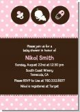 Modern Baby Girl Pink Polka Dots - Baby Shower Invitations