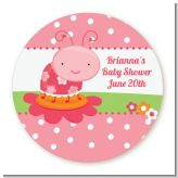 Modern Ladybug Pink - Round Personalized Birthday Party Sticker Labels