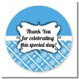 Modern Thatch Blue - Personalized Everyday Party Round Sticker Labels thumbnail