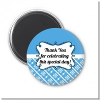 Modern Thatch Blue - Personalized Magnet Favors