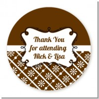 Modern Thatch Brown - Personalized Everyday Party Round Sticker Labels