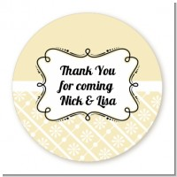Modern Thatch Cream - Personalized Everyday Party Round Sticker Labels