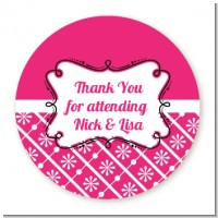 Modern Thatch Fuschia - Personalized Everyday Party Round Sticker Labels