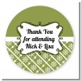 Modern Thatch Green - Personalized Everyday Party Round Sticker Labels thumbnail