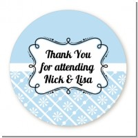 Modern Thatch Light Blue - Personalized Everyday Party Round Sticker Labels