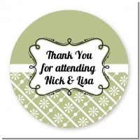 Modern Thatch Olive - Personalized Everyday Party Round Sticker Labels