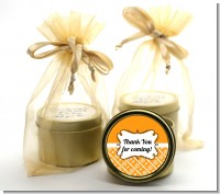 Modern Thatch Orange - Gold Tin Candle Favors