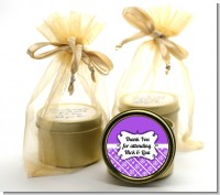 Modern Thatch Purple - Gold Tin Candle Favors
