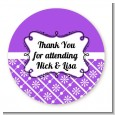 Modern Thatch Purple - Personalized Everyday Party Round Sticker Labels thumbnail