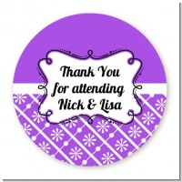 Modern Thatch Purple - Personalized Everyday Party Round Sticker Labels