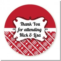 Modern Thatch Red - Personalized Everyday Party Round Sticker Labels