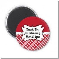 Modern Thatch Red - Personalized Magnet Favors