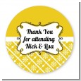 Modern Thatch Yellow - Personalized Everyday Party Round Sticker Labels thumbnail