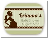 Mommy Silhouette It's a Baby - Personalized Baby Shower Rounded Corner Stickers