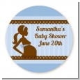Mommy Silhouette It's a Boy - Round Personalized Baby Shower Sticker Labels thumbnail