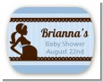 Mommy Silhouette It's a Boy - Personalized Baby Shower Rounded Corner Stickers thumbnail