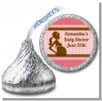 Mommy Silhouette It's a Girl - Hershey Kiss Baby Shower Sticker Labels thumbnail