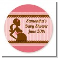 Mommy Silhouette It's a Girl - Round Personalized Baby Shower Sticker Labels thumbnail