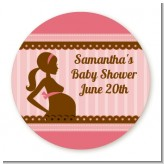 Mommy Silhouette It's a Girl - Round Personalized Baby Shower Sticker Labels