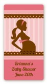 Mommy Silhouette It's a Girl - Custom Rectangle Baby Shower Sticker/Labels