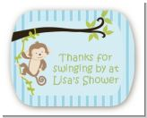 Monkey Boy - Personalized Baby Shower Rounded Corner Stickers