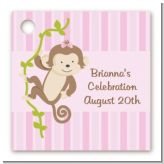 Monkey Girl - Personalized Baby Shower Card Stock Favor Tags