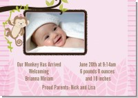Monkey Girl - Birth Announcement Photo Card