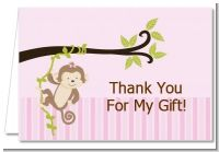Monkey Girl - Birthday Party Thank You Cards