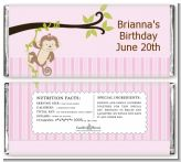 Monkey Girl - Personalized Birthday Party Candy Bar Wrappers