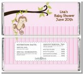 Monkey Girl - Personalized Baby Shower Candy Bar Wrappers