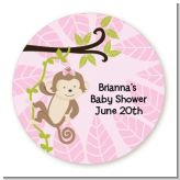 Monkey Girl - Round Personalized Baby Shower Sticker Labels