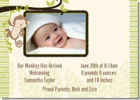 Monkey Neutral - Birth Announcement Photo Card