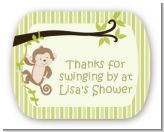 Monkey Neutral - Personalized Baby Shower Rounded Corner Stickers