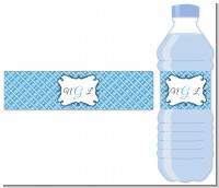 Modern Thatch Blue - Personalized Everyday Party Water Bottle Labels