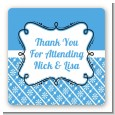 Modern Thatch Blue - Personalized Everyday Party Square Sticker Labels thumbnail
