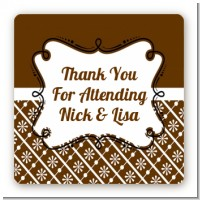 Modern Thatch Brown - Personalized Everyday Party Square Sticker Labels