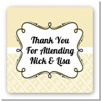 Modern Thatch Cream - Personalized Everyday Party Square Sticker Labels