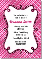 Modern Thatch Fuschia - Personalized Everyday Party Invitations
