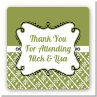 Modern Thatch Green - Personalized Everyday Party Square Sticker Labels