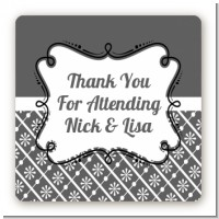 Modern Thatch Grey - Personalized Everyday Party Square Sticker Labels
