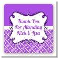 Modern Thatch Purple - Personalized Everyday Party Square Sticker Labels thumbnail