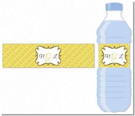 Modern Thatch Yellow - Personalized Everyday Party Water Bottle Labels