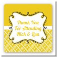 Modern Thatch Yellow - Personalized Everyday Party Square Sticker Labels thumbnail