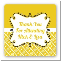 Modern Thatch Yellow - Personalized Everyday Party Square Sticker Labels