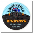 Monster Truck - Round Personalized Birthday Party Sticker Labels thumbnail