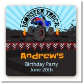 Monster Truck - Square Personalized Birthday Party Sticker Labels
