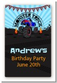 Monster Truck - Custom Large Rectangle Birthday Party Sticker/Labels