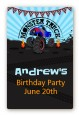 Monster Truck - Custom Large Rectangle Birthday Party Sticker/Labels thumbnail