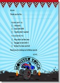 Monster Truck - Birthday Party Fill In Thank You Cards